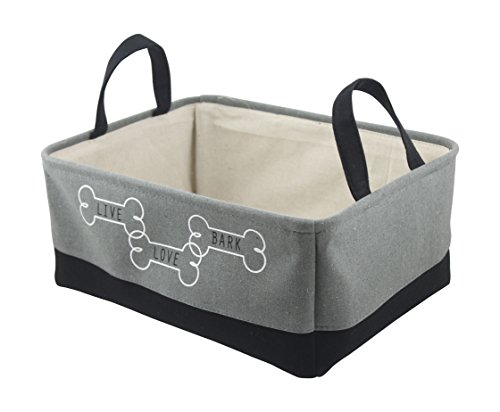 Winifred & Lily Pet Toy and Accessory Storage Bin, Organizer Storage Basket for Pet Toys, Blankets, Leashes and Food in embroidered