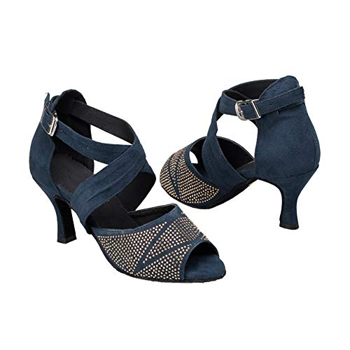 Cruzado Pelo Hebilla ll Danza Sandalias Interior De Latino Baile Show Zapatos Diamante Imitación Moderno Las Blue6cm Cinturón Mujeres Tacón Salón Alto Whl OHRgqg