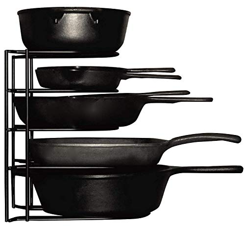 Heavy Duty Pots and Pans Organizer - For Cast Iron Skillets, Pots, Frying Pans, Lids | 5-Tier Durable Steel Rack for Kitchen Counter & Cabinet Storage and Organization - No ()