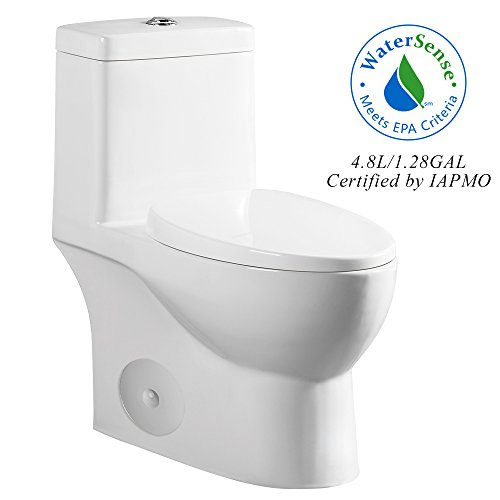 HOROW MY-2137-US Dual Flush Elongated One Piece Toilet with Soft Closing Seat, Comfort Height, Water Sense, High-Efficiency