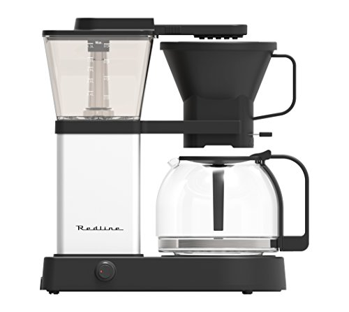 Aluminum Drip Coffee Maker - Redline MK1 8 Cup Coffee Brewer with Glass Carafe, Hot Plate and Pre-Infusion Mode