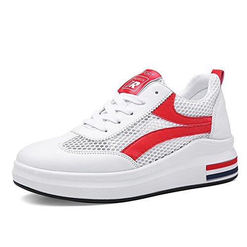 Hasag Zapatos de Verano nuevos Huecos para Mujer Zapatos Casuales Zapatos Cómodos y Transpirables Cómodos Mujeres White Red