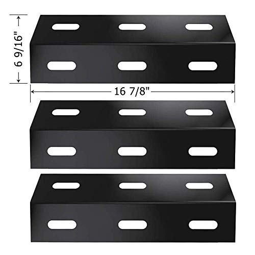 (SHINESTAR Gas Grill Replacement Parts for Ducane 30400040, 30400042, 30400043 and Others, 3-Pack 16 7/8 inch Porcelain Steel Heat Shield Plate Tent Deflector BBQ Burner Cover Flame Tamer(SS-HP047) )