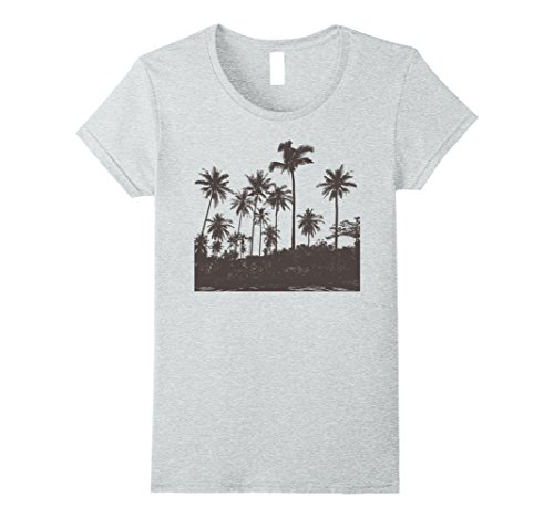 Womens Faded Palm Trees Silhouette Vintage Graphic T-Shirt Large Heather - Silhouette Palm