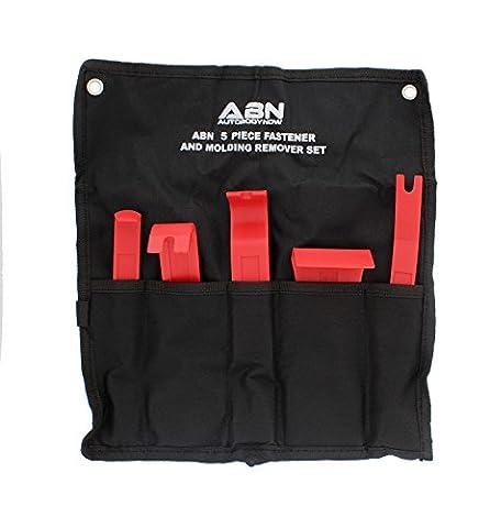 ABN Premium Auto Trim Removal Tool Kit - 5 Piece Pry Bar Set , Fastener Remover -Auto Body Repair Tools - Trim Molding Interior Door Dash Panel (Trim Pad Removal Tool)