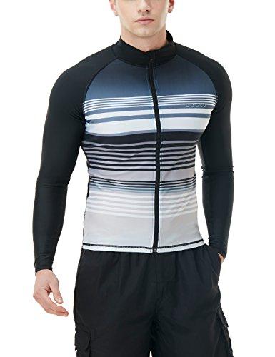 TSLA Men's UPF 50+ Zip Swim Front Long Sleeve Top Rashguard, Body Print(msz23) - Black, XX-Large ()
