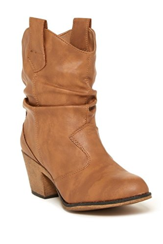 Charles Albert Women's Modern Western Cowboy Distressed Boot with Pull-Up Tabs in Tan Size: 7