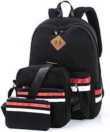 Multicolored Patterned Elephant Girls Black School Backpack /& Pencil Bag Set