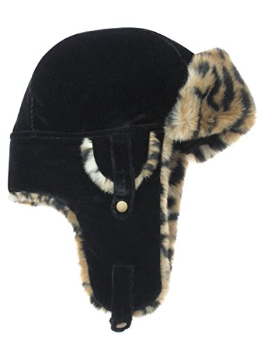 Capelli New York Rayon Velvet Earflap Hat With Earpieces And Faded Leopard Faux Fur Trim Black (Trim Earflap)