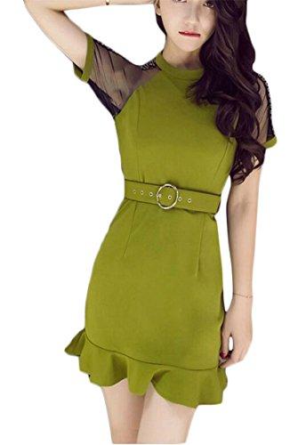 Club Bodycon Jaycargogo Mesh Green Waist Dress Women Slim Sexy Fit High gxwwOq7HU