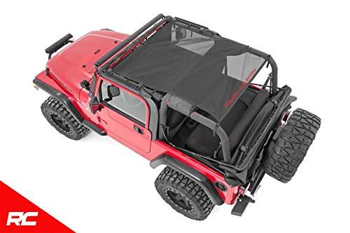 Rough Country Black Mesh Bikini Top Plus Compatible w/ 1992-2006 Jeep Wrangler TJ YJ Roof Cover