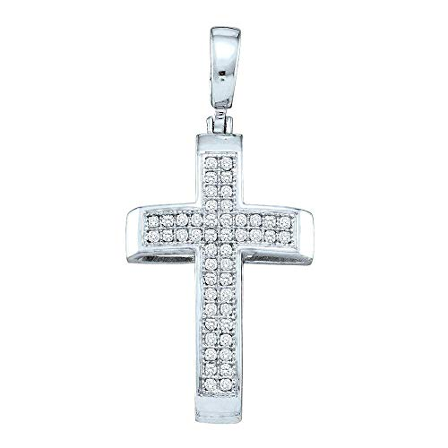 Set Round Diamond Cross - Dazzlingrock Collection Sterling Silver Womens Round Pave-set Diamond Cross Pendant 1/6 Cttw