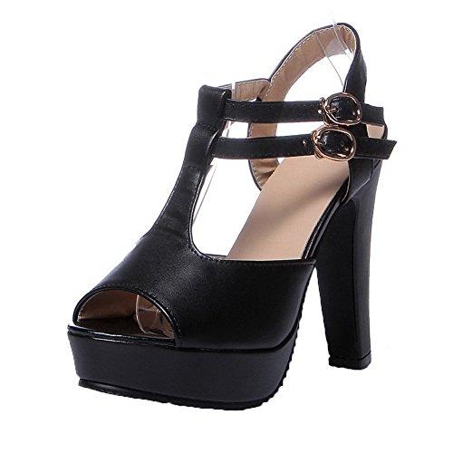 AalarDom Mujer Puntera Abierta Tacón Alto Sólido Sandalias de vestir Negro-TAI