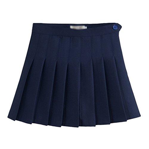 Heheja Femmes/Fille Rtro Mini Jupe Basique Casual Plisse Patineuse Elastique d'cole Jupes Courte Navy