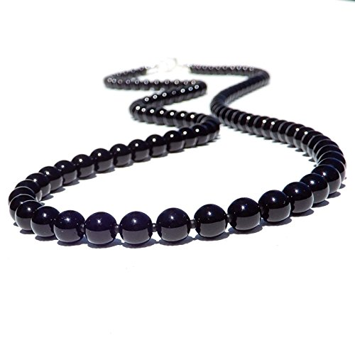 Men's Black Onyx Agate Necklace Custom Length (Onyx Strand Necklace)