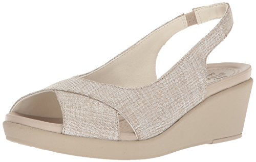 Crocs Women's Leigh Ann Shimer Slngbck WDG W Wedge Sandal, Oyster/Cobblestone, 6 M US (Crocs Open Toe Wedge)