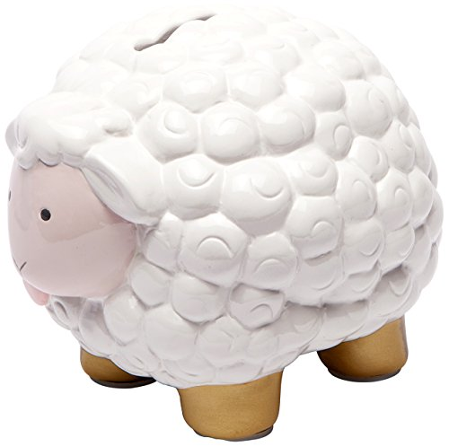 C.R. Gibson Pink and White Sheep Ceramic Coin Piggy Bank, 6.5'' x 4.5'' x 5'', 1 Piece