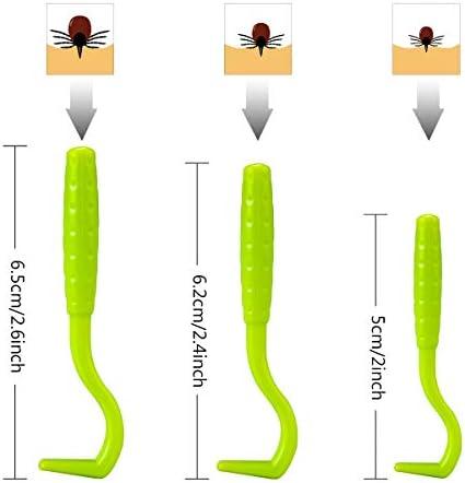 MELLIEX 5pcs Tire Tique, Pince à Tiques en Acier Inoxydable et Crochet à Tiques en Plastique avec Boîte pour Chiens et Chats