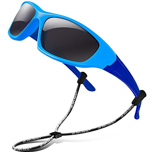 (RIVBOS Rubber Kids Polarized Sunglasses With Strap Glasses Shades for Boys Girls Baby and Children Age 3-10 RBK003 (Blue&blue))