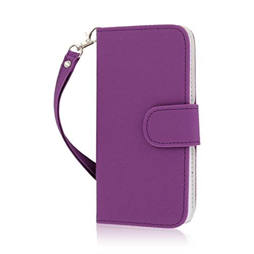iPhone 6 / iPhone 6S Wallet Case - MPERO Purple Flex Flip Card Holder with Wrist Strap