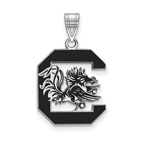 LogoArt Logo Art Sterling Silver South Carolina Gamecocks Large Enamel Pendant