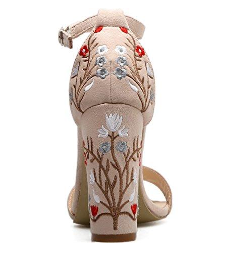 Easemax Mode Féminine Dépolie Fleur Brodée Cheville Boucle Sangle Bout Ouvert Haut Chunky Talon Sandales Abricot