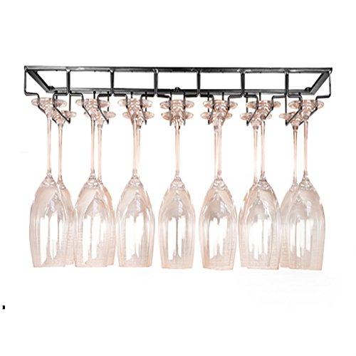 Yxsd Estante del Vino/sostenedor de Cristal/European Vintage Iron Hanging Wine Cabinet/Bar Wine Rack Ledge (Color : Negro)