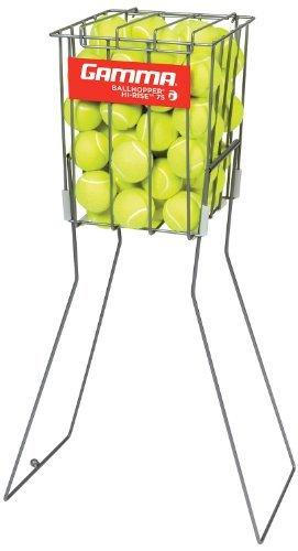 GAMMA Tennis Ball Hopper Hi-Rise 75| Silver Tennis Ball Holder W/ 75 Ball ...