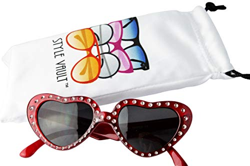 Crystal 1960s - KD3101 Kids Toddlers Children Girls 1~7 year old Heart Sunglasses (Crystal Red, 41)