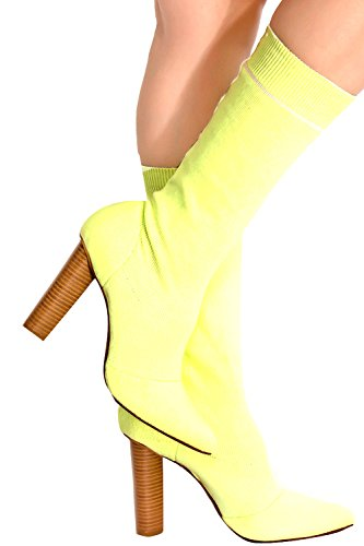 LOLLI COUTURE STRETCH KNIT POINTED TOE KNEE HIGH HEEL CHUNKY BOOT 85 yellow Chunky Knit Boot