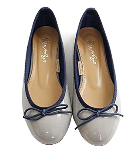 Round Toe PPXID Slip Women's Soft D Pumps Sweet Flat Bowknot Blue Light Ballet Flats On qRRw1