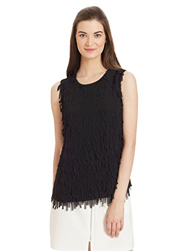 Armani Jeans Women's Top Silk Cutout Sleeveless Shell, Black, 10 Petite (Petite Shell Silk Sleeveless)