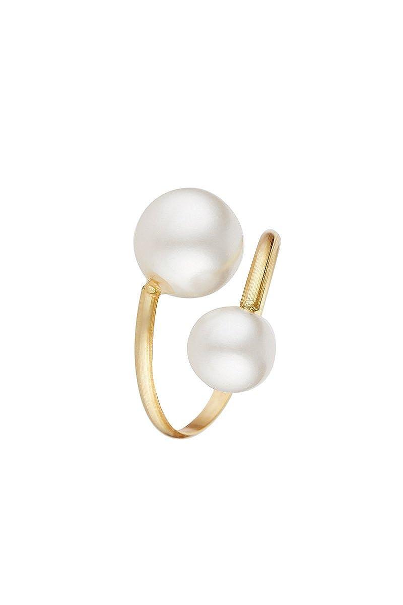 Córdoba Jewels | Anillo en Plata de Ley 925 bañada en Oro. Diseño Tú y Yo Oro Perla cultivada: Amazon.es: Joyería