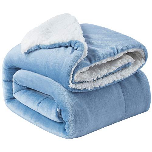 Bedsure Sherpa Fleece Blanket Twin Size Slate Blue Plush Blanket Fuzzy Soft Blanket Microfiber