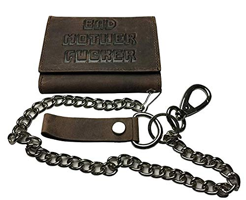 BMF Leather Trifold Biker Wallet with Chain New Tough Raw Leather Version