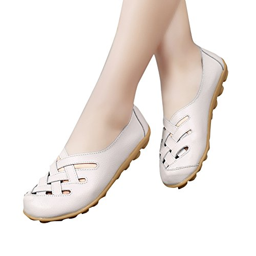 Ablanczoom Women's Soft Leather Loafers Shoes Casual Comfortable Driving Moccasins Flat Summer Ladies Sandals Beige