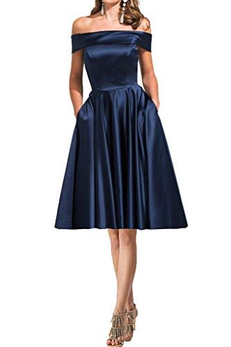 Partykleid Damen Ivydressing Ausschnitt U Abendkleid Satin Lang Festkleid Promkleid Linie A Modern Kurz Dunkelblau appqw8