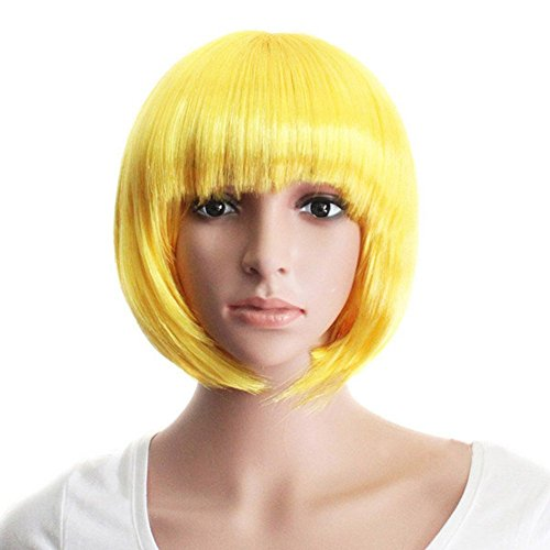 Blunt Costumes (Women's Cosply Bob Short Wig with Blunt Bangs Costume Ball Rave Party Yellow)