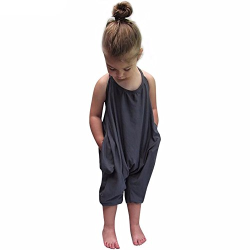 Hamkan Baby Grey Summer Cute Jumpsuits for Girls Kids Harem Strap Romper Jumpsuit Toddler One Piece Pants Size 3T - Boutique One Piece