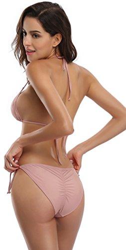 Remata Profundo la Inferior Parte Lateral Mujer SHEKINI Bañador Lazo Triángulo Push Taupe Bikini Up Superior de de wBTfxgq4
