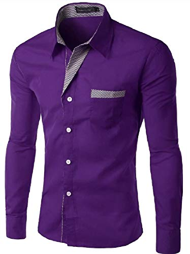 Casual Shirt Sleeve Dress Lapel Maweisong Fit Button Purple Slim Business Top Mens Short Luxury qayxT1fH