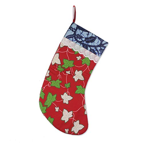 - NOVICA Christmas Cotton Holiday Stocking, Red, Ivy Cheer'