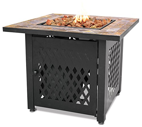 Endless Summer, GAD1429SP, Gas Outdoor Fireplace with Slate Mantel (Outdoor Fire Pits Propane)