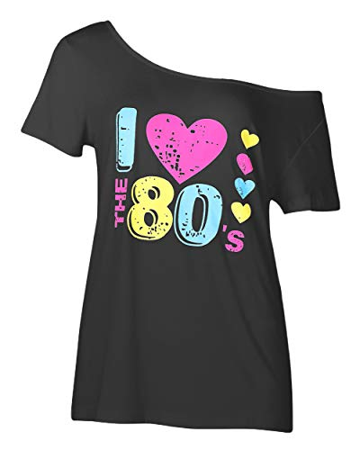 Smile fish Women's I Love The 80's Off The Shoulder Tops 80s Costumes T Shirts (2XL,Black) K007]()