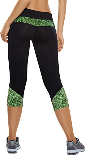 Haby Women Sport Leggings Fitted Pants Running Wide Waistband 61525 Green L