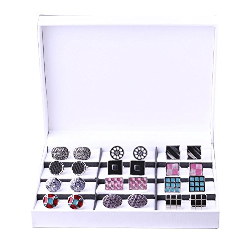 Plated Polished Rectangle Cufflinks (Elegant Cufflink Gift Set Men's Cuff Links 12 Pack)