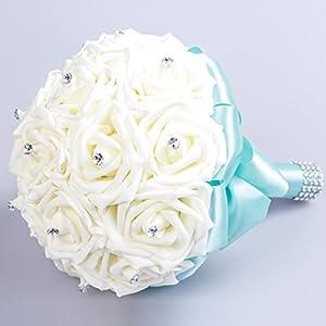 StillCool Wedding Bouquets Crystal Pearl Silk Roses Bridal Bridesmaid Wedding Hand Bouquet Artificial Fake Flowers (18cm24cm, Mint-Green) 2