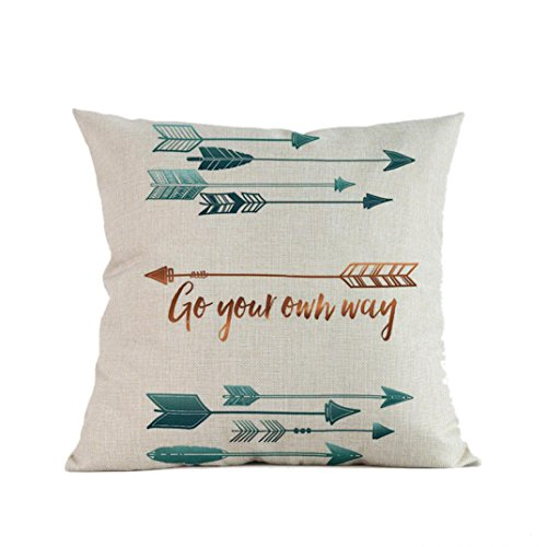 Throw Pillow case, Woaills Decorative Feather Arrow Printing Cushion Cover 18 x 18 Inches, Invisible Zipper (D)