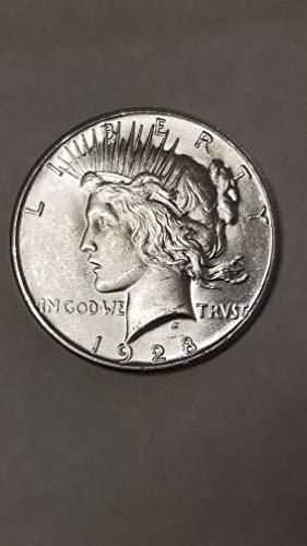 Dollar Peace Key - 1928 -P PEACE SILVER DOLLAR-CRISPY SHARP DETAIL BRILLIANT UNCIRCUALTED++-KEY DATE-VERN'S CARD & COIN Dollar BU+
