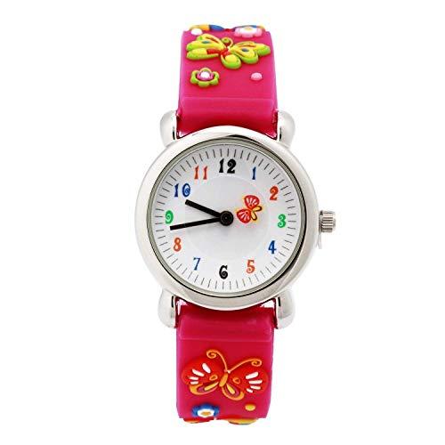 Eleoption Waterproof 3D Cute Cartoon Digital Silicone Wristwatches Time Teacher Gift for Little Girls Boy Kids Children (Pink Butterfly)
